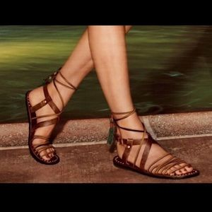 Free People Brown Leather Gladiator Tassel Sandal
